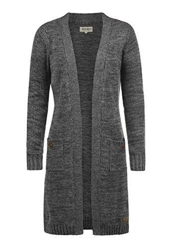 DESIRES Philetta Damen Lange Strickjacke Cardigan Grobstrick Winter Longstrickjacke, Größe:M, Farbe:Dark Grey (2890)