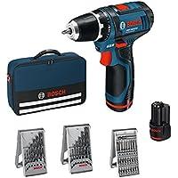 Bosch Professional GSR 10,8–2-Li Perceuse sans fil avec 39pièces Set d'accessoires, 2batteries 2,0AH, Chargeur de batterie avec pochette de rangement, 10,8V