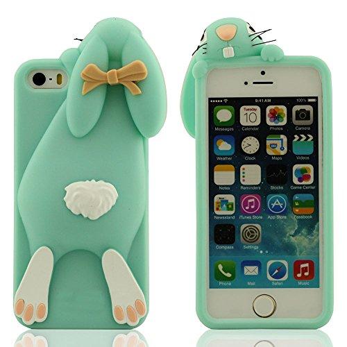 Besondere Niedlich Kaninchen Aussehen Entwurf Schutzhülle iPhone 5 5S 5C 5G Hülle, iPhone 5S 5C Case, Weich Silikon Handy Tasche Prämie Schutz Slap-up Estilo Soft touch Anti-Shock Cyan
