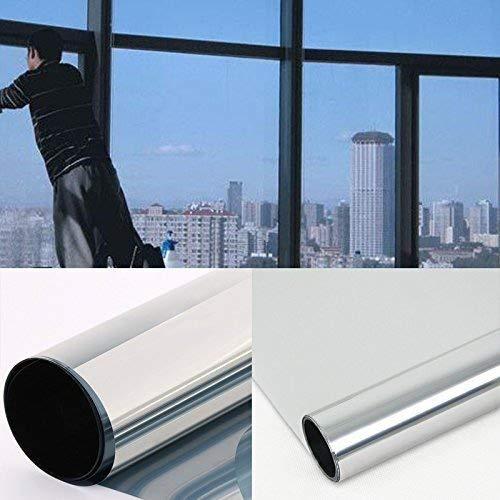 DiversityWrap silberne reflektierende einseitig-spiegelnde Solar-Fensterfolie, Privatsphäre, Glastönung zum Aufkleben, 1,52m, silber, 6m x1.52m (236.2