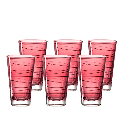 Leonardo Vario Struttura Becher groß Rubino,  6-er Set, 280 ml, weinrotes Klarglas mit Colori-Hydroglasur, 018233 Rote Gläser
