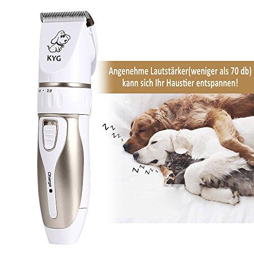 KYG Profi Hunde Schermaschine Elektrische Tierhaarschneider Haarschneidemaschine Haustiere Mit Aufsteckkümmen,Schere,Nagelfeile Gold/Weiß - 6