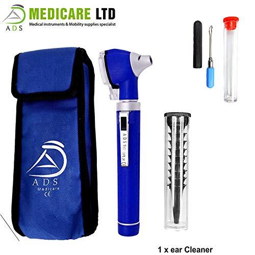 ADS Medicare Mini-Otoskop mit Lichtleitfaser und LED-Beleuchtung für ENT, medizinische Diagnosen und Überprüfungen, CE-geprüft, inklusive Ohrenreiniger