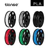 TIANSE 6 couleurs Filament PLA 1.75mm, PLA Filament 1.75mm, 3D Printing Filament, 1.8kg (300g/Spool), Noir/Blanc/Argent/Bleu/Rouge/Vert