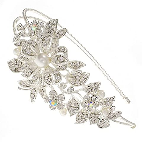 Large Sweeping Blossom Flower Bouquet Swarovski Crystal Silver Bridal Wedding Hair Band Tiara Double Wire Headband
