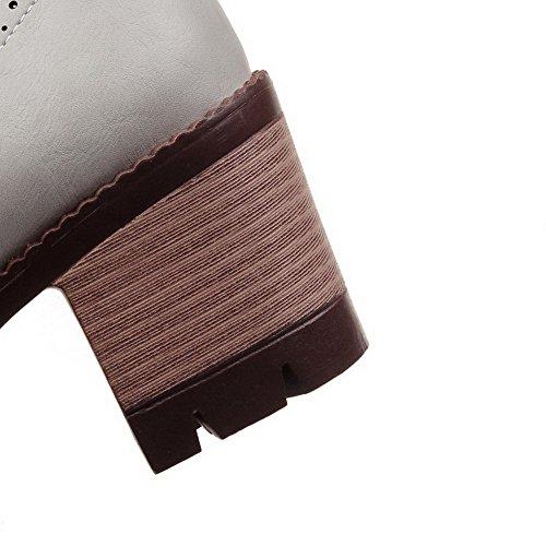 VogueZone009 Femme Rond à Talon Correct Couleur Unie Tire Chaussures Légeres Gris