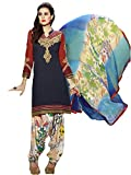 KVSFAB Women's Blue and Red Pure Cotton Cambric Salwar Kameez[3759Zara-3]