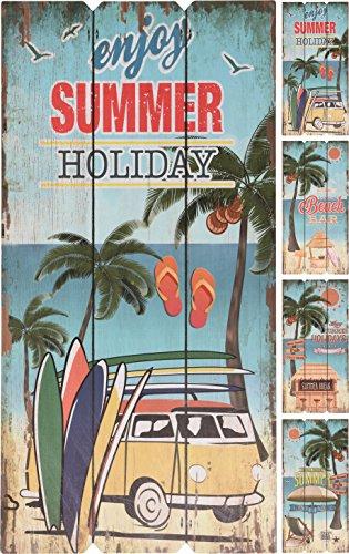 Elyte - Letrero de madera para vacaciones de verano, 4 diseños diferentes y originales, se puede utilizar en interiores o al aire libre, ideal como decoración de pared