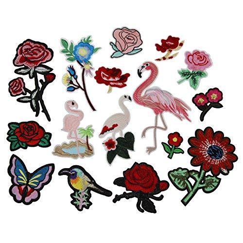 LJY 16 Stücke sortierte Bügeleisen auf gesticktem Motiv Applique Glitzer DIY Nähen auf Dekoration Applique (Flamingo Diy: Kostüm)