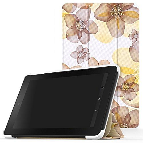 MoKo Fire 2015 7 Zoll Hülle - Ultra Slim Lightweight Schutzhülle Smart Cover Case mit Standfunktion für Amazon Fire Tablet (Vorherige 5th Generationeration - 2015 Modell) Tablet, Blumen Gelb