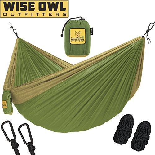 Hobo-khaki (Wise Owl Outfitters Hängematte - Einzel- Und Doppel Camping Hängematten - - Tragbares Leichtes Fallschirm Nylon. DoppeltOwl DO Grün Und Khaki)