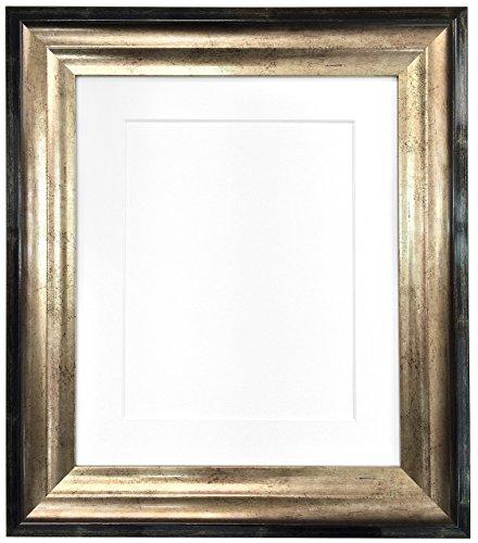 Frames By Post Bilderrahmen Firenza, antiker Stil, mit Passepartout, goldfarben/Schwarz, plastik, White Mount, 40 x 50 cm Pic Size A3 (Plastic Glass)