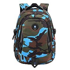Idea Regalo - Zaino per Ragazzi impermeabile Schoolbag Camuffamento Studente Zaino con spalla Borsa grande capienza casuale viaggiare GudeHome