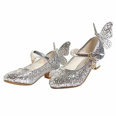 4d47fb6d887a Amur Leopard Enfant Fille Chaussure de Danse à Talon en PU Cuir Ballerine  Princesse Paillettes
