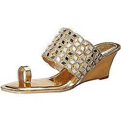 Catwalk Women's Gold Fashion Slippers - 6 UK