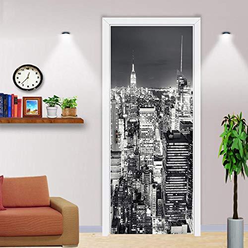 3D-Druck durch Dekoration selbstklebende Stadt Nacht Aufkleber Bild Home Decoration Papier Wohnzimmer wasserdicht Kunst Aufkleber Plakat -