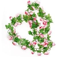 nalmatoionme rosa casa boda jardín decoración guirnalda de rosas artificiales flores de seda de flores