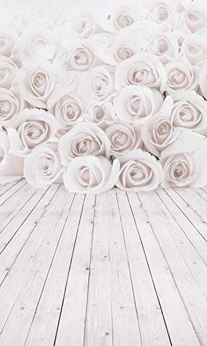 5x 2,1Vinyl Digital weiß Rose Blumen Holz Boden Fotografie Studio Hintergrund Prop Hintergrund
