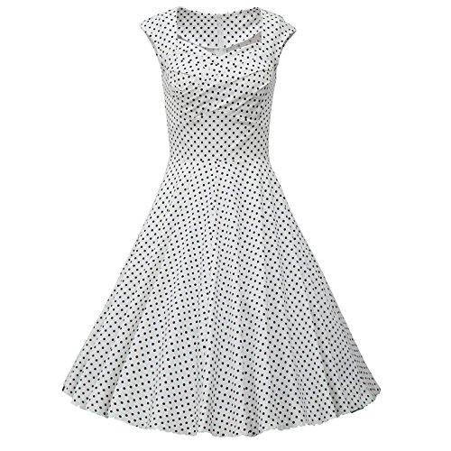 Babyonlinedress Robe de soirée/Cocktail Courte Rétro Vintage année 1950 avec Manches Courtes, Style Audrey Hepburn Rockabilly Swing Pois Blanc