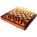 StonKraft Collectible Folding Wooden Chess Game Board Set with Magnetic Crafted Pieces