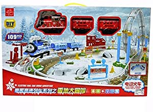 Happy GiftMart Thomas Style DIY 360 Loop Above Ground Train Set with Signal and LED (Red) - Pack of 109