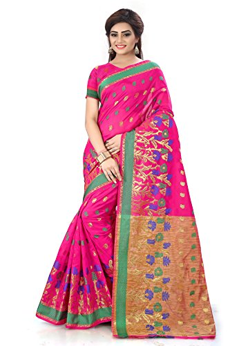 Royal Export Women\'s Pink Cotton Silk Saree