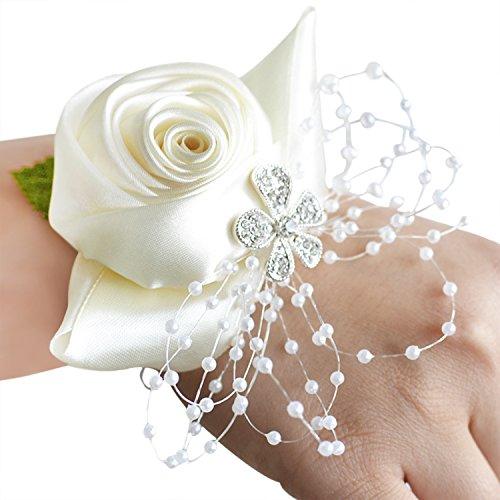 JINTN Hochzeit Kirche Armband Armschmuck Rosa Blumen Handgelenk für Blumenmädchen Braut Brautjungfer