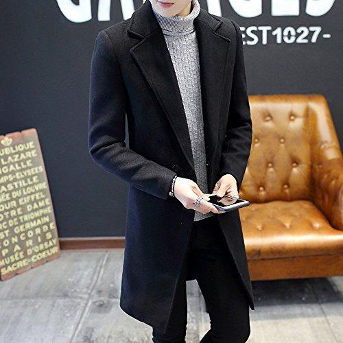 FFYY Winter Slim Men 'S Fashion Coat Herren Langen Trenchcoat Freizeitjacke Gezeiten Männer,Schwarz,XXXL (Schwarze Trenchcoats Für Männer)