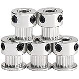 UEETEK 5 piezas aluminio símbolo 2GT GT2 poleas 20 dientes diámetro 5mm para impresora 3D Reprap Mendel Prusa