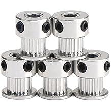 UEETEK 5 piezas aluminio símbolo 2GT GT2 poleas 20 dientes diámetro 5mm para impresora 3D Reprap