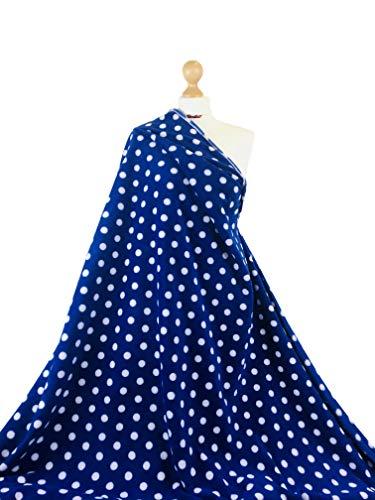 Premium Qualität bedruckt, Anti-Pilling-Polar-Fleece-Herzen, Camouflage, Tierpfoten, Punkte, Sterne, gepunktet, weiches warmes Material, Royal Blue Polka Dots, 1 Meter
