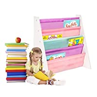 FINEWAY Wooden Kids Book Shelf Sling Storage Rack Organizer- Soft Nylon Fabric Shelves Shelf to Protect Your Kids Books - Perfect Height for Your Little Reader