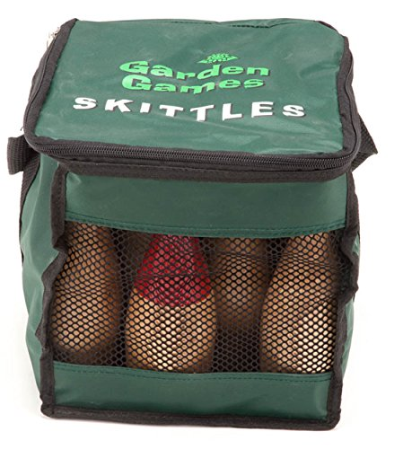 Garden Skittles Set 23 Centimetres Tall - Made From a Premium Polished Hardwood 9 Pin Set in a Handy Carry Bag