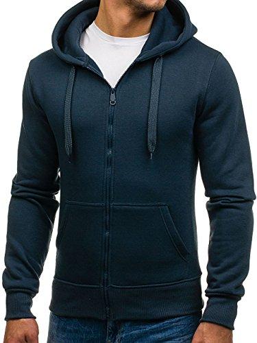 BOLF Kapuzenpullover Sweatshirt Hoodie Kapuze Pullover mit Reißverschluss Mix 1A1 Dunkelblau_2008