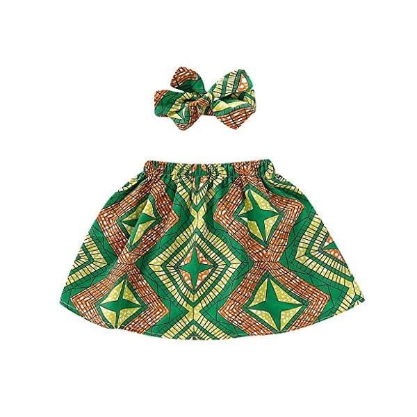 QinMMROPA Falda Africana de bebé niña Conjunto de Ropa de Diadema Falda de Estilo étnico 5