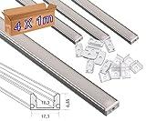 4*1 metro Perfil aluminio tira led superficie con tapa traslúcida 12,3x6,08mm - Jandei