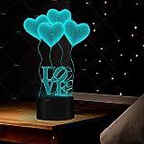 Coloré lumière LED nuit cadeau Saint Valentin de ballon 3d amour lampe de table créative
