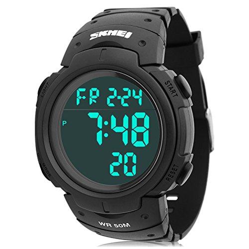 Herren Sport Digital Uhren – Outdoor Wasserdicht Sport Armbanduhr mit Timer/Alarm, Mode Militär Handgelenk Uhren mit LED-Bildschirm große Ziffern Mikrofaser Bonus für Running Herren (schwarz)