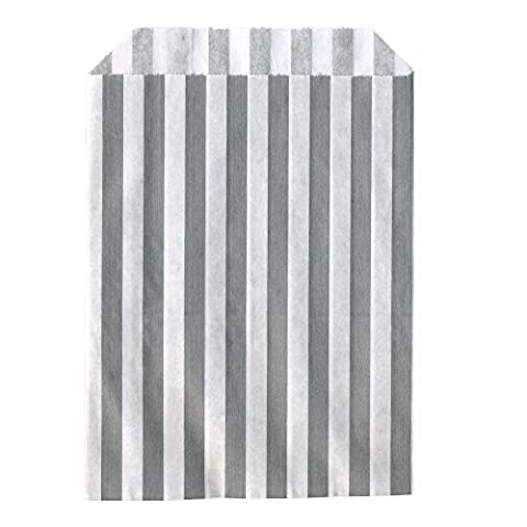 100x Grey Candy Stripe Sweet/Gift Paper Bags - 5 x 7 by Candy Stripe Paper Bags