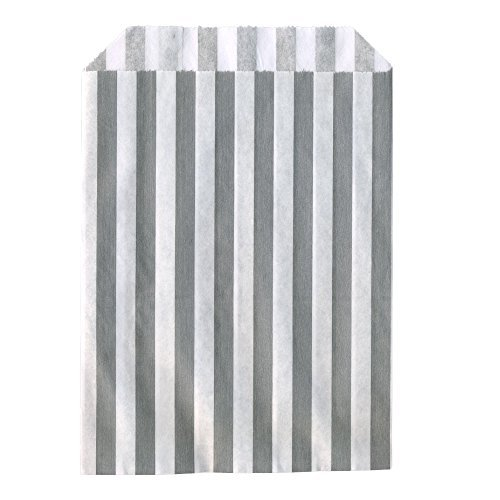 (100x Grey Candy Stripe Sweet/Gift Paper Bags - 5 x 7 by Candy Stripe Paper Bags)