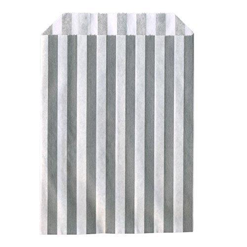 100x Süssigkeiten Papiertüten Grau Gestreift 12,5x17,5cm