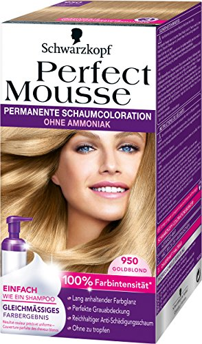 Perfect Mousse (Perfect Mousse permanente Schaumcoloration, 950 Goldblond, 3er Pack (3 x 1 Stück))