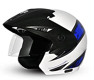 Vega Cruiser Open Face Graphic Helmet (White and Blue, M)