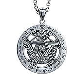 TIZIKJ Magic Star Disk Religious Pendant Halskette für Männer Frauen, Vintage Persönlichkeit 925 Sterling Silber Schmuck