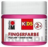 Marabu 03030050033 - Kids Fingerfarbe auf Wasserbasis, parabenfrei, vegan, laktosefrei, glutenfrei, geeignet zum Malen in Kindergarten, Schule, Therapie und zu Hause, 100 ml, pink