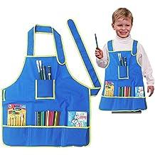Pintura arte Delantales de Niños, Delantal Impermeable Pintura Con bolsillos - azul