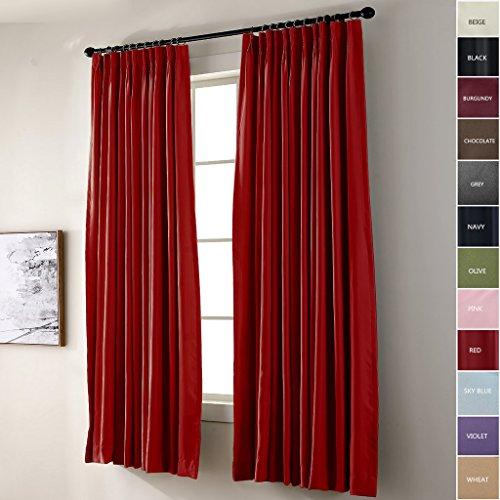 Hergestellt in Tschad Kneifen Falte wärmedämmend Verdunklung Patio Tür Vorhang Panel Draperie für Traverse Stange und Track, Rot 183B x 259H CM (1 Panel)