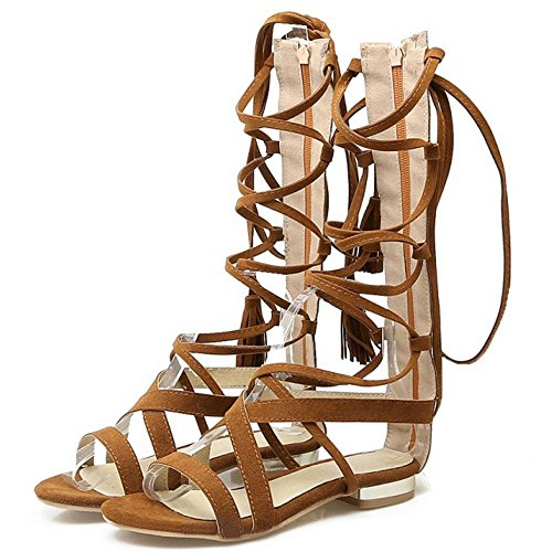 COOLCEPT Damen Mode-Event Schnueren Sandalen Open Toe Gladiator Shoes Braun