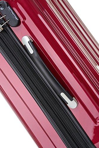BEIBYE Hartschalen Koffer Trolley Rollkoffer Reisekoffer 4 Zwillingsrollen (Handgepäck-40L, Rot) - 4