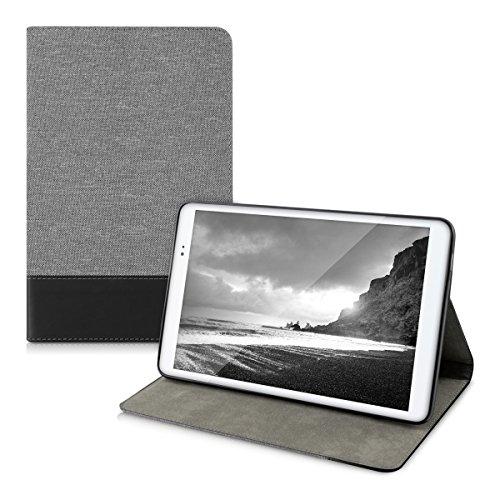 kwmobile Funda para Huawei MediaPad T1 10 - Carcasa de [Tela] para Tablet con [Soporte] - Cover [Gris/Negro] de Tab